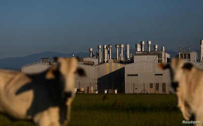 FILE - A view of the General Motors plant is seen in Sao Jose dos Campos, Brazil, Jan. 22, 2019.