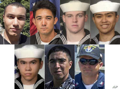 This combination of undated photos released Monday, June 19, 2017, by the U.S. Navy shows the seven U.S. sailors who died in a collision between the USS Fitzgerald and a container ship off Japan, June 17, 2017.