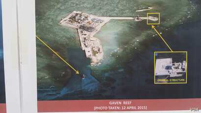 Philippine military's images of China's reclamation in the Spratlys, Gaven Reef, April 12, 2015. (Armed Forces of the Philippines)