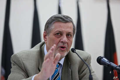Jan Kubis, United Nation representative for Afghanistan speaks, during a press conference in Kabul, July 13, 2014.