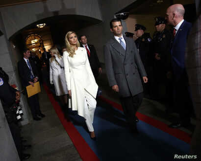 Ivanka Trump, left, and Donald Trump Jr. arrive on the West Front of the U.S. Capitol in Washington, D.C., Jan. 20, 2017.