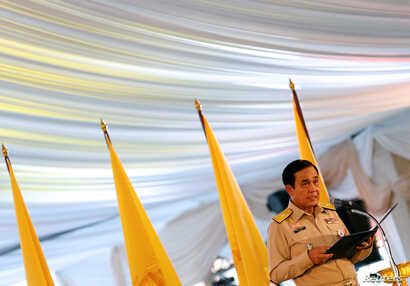 Thailand's Prime Minister Prayut Chan-o-cha gives an opening speech during the dinner for rescue workers and volunteers who participated in the cave rescue earlier this year, in Bangkok, Sept. 6, 2018.