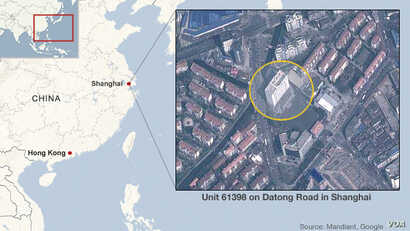 Map of the APT1 hacking headquarters in Shanghai, China.