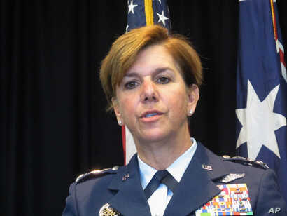 FILE - General Lori Robinson, commander of the North American Aerospace Defense Command and the U.S. Northern Command, USNORTHCOM.