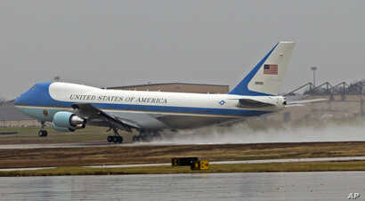 Air Force One, with President Barack Obama aboard, departs on a rainy Dec. 6, 2016, from Andrews Air Force Base, Maryland.