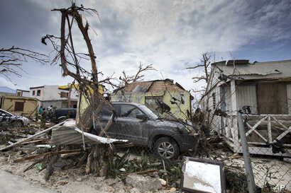 Storm damage from Hurricane Irma is seen in St. Martin, Sept. 7, 2017, in this photo provided by the Dutch Defense Ministry.