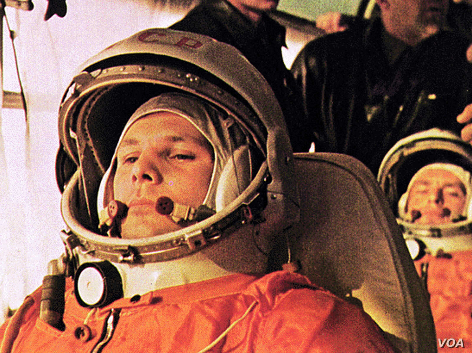 Soviet cosmonaut Yuri Gagarin, pilot of the Vostok 1, is on the bus on the way to the launch.