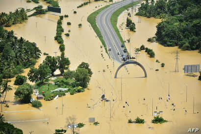 In this photograph released by the Sri Lankan Air Force Media division on May 29, 2017, flooding is seen in the country's Matara district.