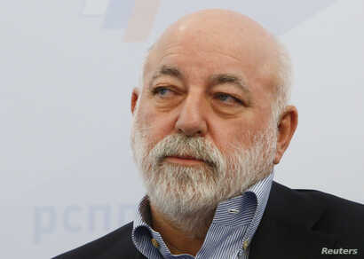 FILE - Chairman of the Board of Directors of Renova Group, Viktor Vekselberg attends a session during the Week of Russian Business, held by the Russian Union of Industrialists and Entrepreneurs (RSPP), in Moscow, Russia, Feb. 7, 2018.
