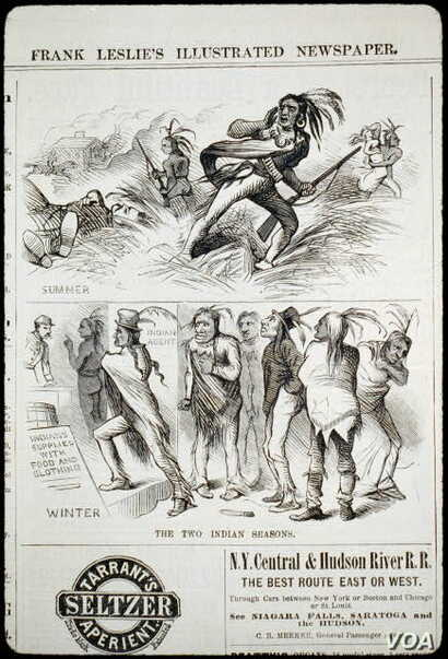 """Engraving from Oct. 1, 1881 issue of popular Frank Leslie's newspaper. Stereotypes of the """"savage"""" or """"defeated"""" Indian have helped shape public opinion about Native Americans for more than 200 years."""