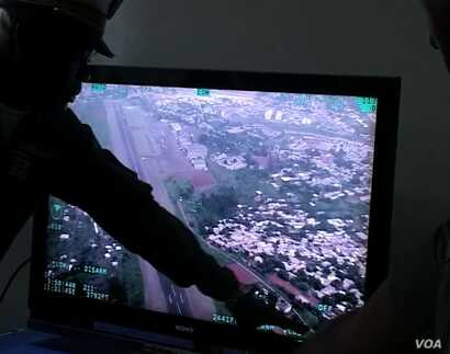 View of Yaounde from the aircraft during reconnassance flight