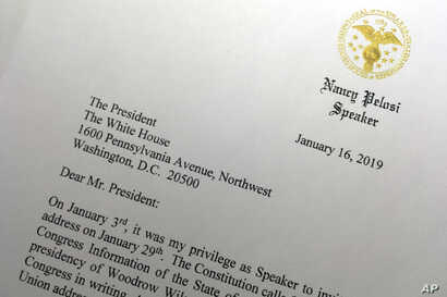 A portion of a letter sent to President Donald Trump from House Speaker Nancy Pelosi, Jan. 16, 2019 in Washington, asking  President Trump to postpone his State of the Union address to the nation, set for Jan. 29, until the government reopens.