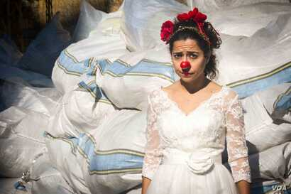 Sabine Choucair, who founded Clown Me In in Lebanon, is the only professional clown among the troupe.