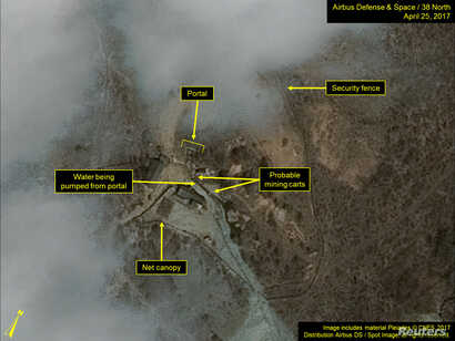 Commercial satellite imagery of the Punggye-ri nuclear test facility, which 38 North says indicates an apparent resumption of activity in North Korea, is seen in this image from April 25 released on May 3, 2017.