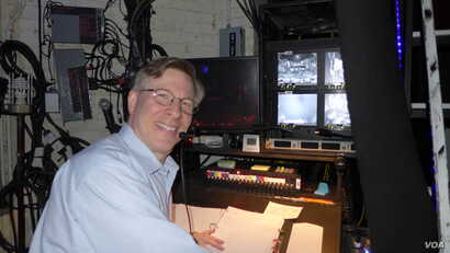 Ira Mont at the stage manager's desk at Cats