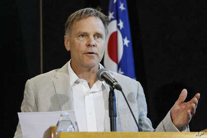 Fred Warmbier, father of Otto Warmbier, a University of Virginia undergraduate student who was imprisoned in North Korea in March 2016, speaks during a news conference, June 15, 2017, at Wyoming High School in Cincinnati.