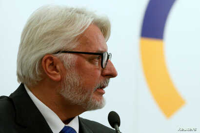 Poland's Foreign Minister Witold Waszczykowski holds a news conference in Kiev, Ukraine, Sept. 13, 2016.