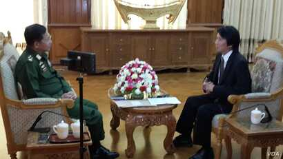 VOA Burmese Service Chief Than Lwin Htun sits exclusive interview with Seinor Genaral Min Aung Hlaing at Capital, Naypyitaw (November 22, 2014) Photo