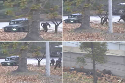 This combination of images made from Nov. 13, 2017, surveillance video released by the United Nations Command shows a North Korean soldier fleeing to South Korea.
