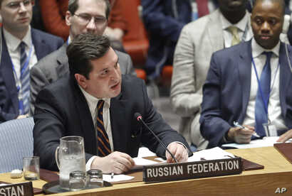 FILE - Russian Deputy U.N. Ambassador Vladimir Safronkov addresses the Security Council at U.N. headquarters in New York, April 5, 2017.