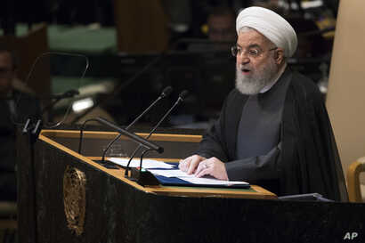 Iranian President Hassan Rouhani addresses the 73rd session of the United Nations General Assembly,  Sept. 25, 2018 at U.N. headquarters.