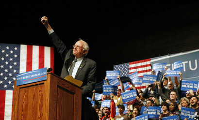 Democratic presidential candidate Sen. Bernie Sanders, I-Vt., gestures to supporters during a campaign rally in Laramie, Wyo., Tuesday, April 5, 2016.