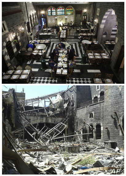 This combo of two photographs shows an undated handout photo, bottom, of the destruction at the Julia Palace Resautrant, and the same spot after the reconstruction on Jan. 17, 2018, top, in Homs, Syria.