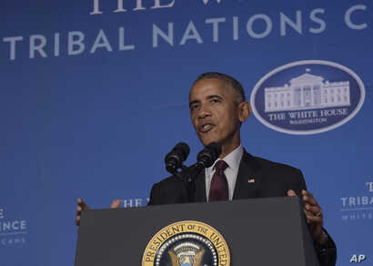 President Barack Obama speaks at the 2016 White House Tribal Nations Conference held in the Mellon Auditorium in Washington, Sept. 26, 2016.