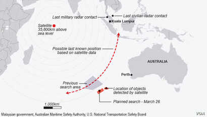Malaysia Airlines flight MH 370 extended search area as of March 26, 2014