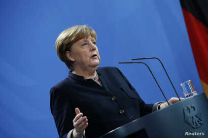 German Chancellor Angela Merkel during news conference at the chancellery in Berlin, Germany, Jan. 16, 2017.