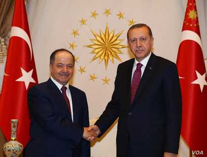 Turkish President Recep Tayyip Erdogan meeting Masoud Barzani, President of the Iraqi Kurdistan Region in Ankara