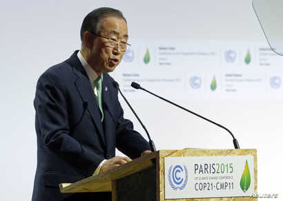 United Nations Secretary General Ban Ki-moon delivers a speech for the opening day of the World Climate Change Conference 2015 (COP21) at Le Bourget, near Paris, France, Nov. 30, 2015.
