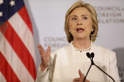 Democratic presidential candidate Hillary Clinton speaks at the Council on Foreign Relations in New York, Nov. 19, 2015. In her speech, she outlined steps she would take to combat the Islamic State group.