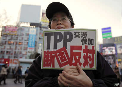"""FILE - A protester holds a sign reading """"We oppose Japan to join the TPP negotiation talks"""" during a rally against the Trans-Pacific Partnership in Tokyo."""