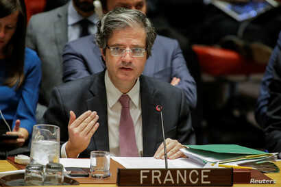 Francois Delattre, Permanent Representative of France to the United Nations, speaks during the United Nations Security Council meeting on Syria at the U.N. headquarters in New York, April 13, 2018.