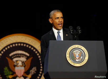 U.S. President Barack Obama delivers his farewell address in Chicago, Ill., Jan. 10, 2017.