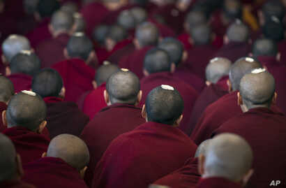 Exiled Tibetan Buddhist monks have ceremonial seeds on their shaven heads as they listen to a religious talk by their spiritual leader, the Dalai Lama, at the Tsuglakhang temple in Dharmsala, India, March 14, 2017.
