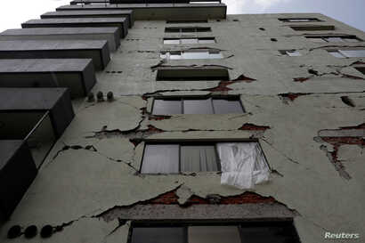 A general view shows a building that was damaged by the devastating earthquake, that took place in Mexico City last year, Mexico, Sept. 12, 2018.