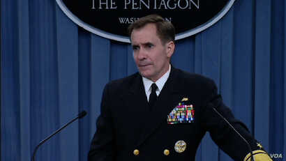 Pentagon spokesman Rear Admiral John Kirby speaks at a news briefing about the situation in Iraq, at the Pentagon, June 13, 2014.