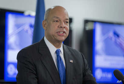Homeland Security Secretary Jeh Johnson discusses the updates to the National Terrorism Advisory System (NTAS), Dec. 16, 2015, at the Federal Emergency Management Agency (FEMA) National Response Coordination Center in Washington.