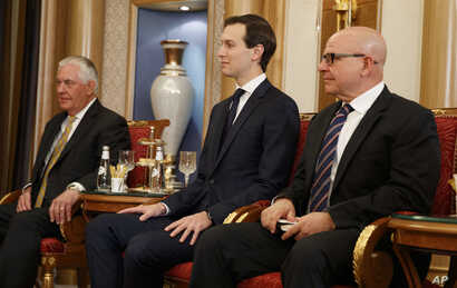 U.S. Secretary of State Rex Tillerson, left, White House senior adviser Jared Kushner, center, and National Security Adviser H.R. McMaster at a bilateral meeting between President Trump and Bahrain's King Hamad bin Isa Al Khalifa, May 21, 2017, in Ri...