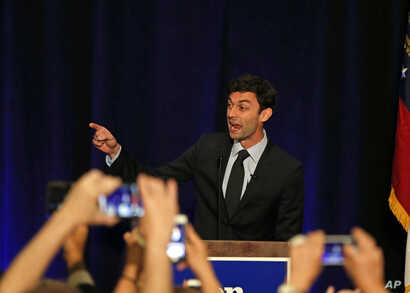Democratic candidate for Georgia's Sixth Congressional Seat Jon Ossoff speaks to supporters during an election-night watch party, April 18, 2017, in Dunwoody, Georgia.