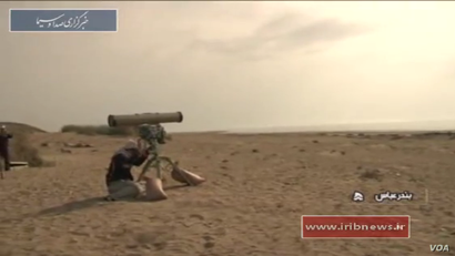 Iranian military personnel prepare to fire a laser-guided anti-ship missile (AShM) called Dehlaviyeh as part of a major naval exercise. Iranian state media say the test happened Feb. 27, 2017. (Screen grab from IRIB News Agency video)