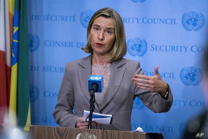 European Union Foreign Policy Chief Federica Mogherini answers questions following a European Union-hosted meeting about the Iran nuclear deal at United Nations headquarters, Sept. 20, 2017.