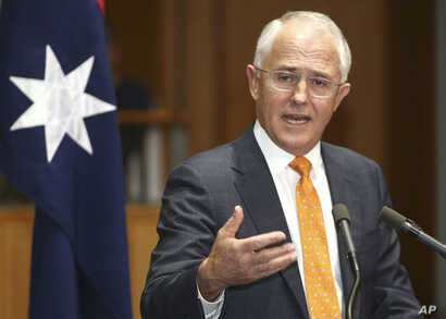 FILE - Australian Prime Minister Malcolm Turnbull speaks to the media during a press conference at Parliament House in Canberra, Australia.
