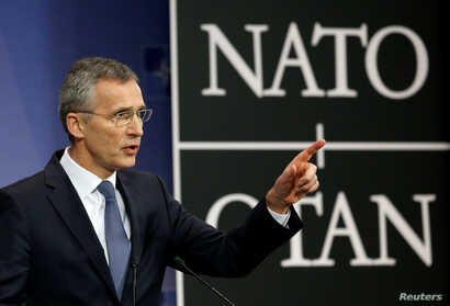 NATO Secretary-General Jens Stoltenberg addresses a news conference ahead of a NATO defence ministers meeting at the Alliance headquarters in Brussels, Belgium, Feb. 14, 2017.
