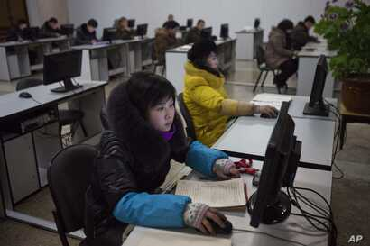 North Koreans work at computer terminals inside the Grand People's Study House in Pyongyang, North Korea, January  9, 2013.