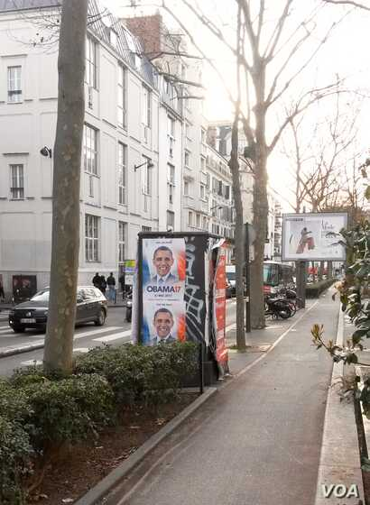 An Obama 2017 campaign poster is shown in Paris, France. (Lisa Bryant)