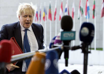 British Foreign Secretary Boris Johnson arrives for a meeting of EU foreign ministers at the EU Council building in Luxembourg, April 16, 2018.