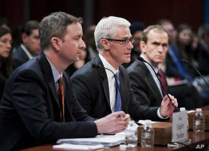 Twitter's acting General Counsel Sean Edgett, from left, Facebook's General Counsel Colin Stretch and Google's Senior Vice President and General Counsel Kent Walker, testify before a House Intelligence Committee hearing on Capitol Hill in Washington,...